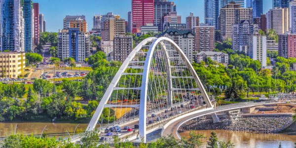 A panoramic view of downtown Edmonton in the summer